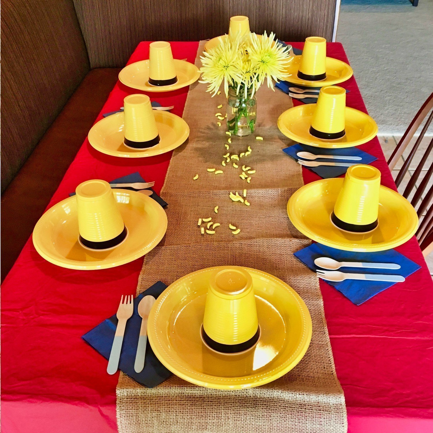 curious george party table setting and decoration