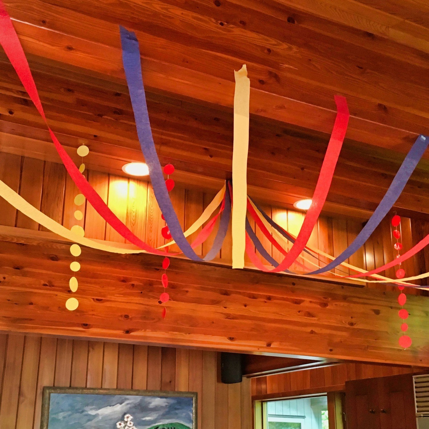 red, yellow and blue streamers hung for party decorations