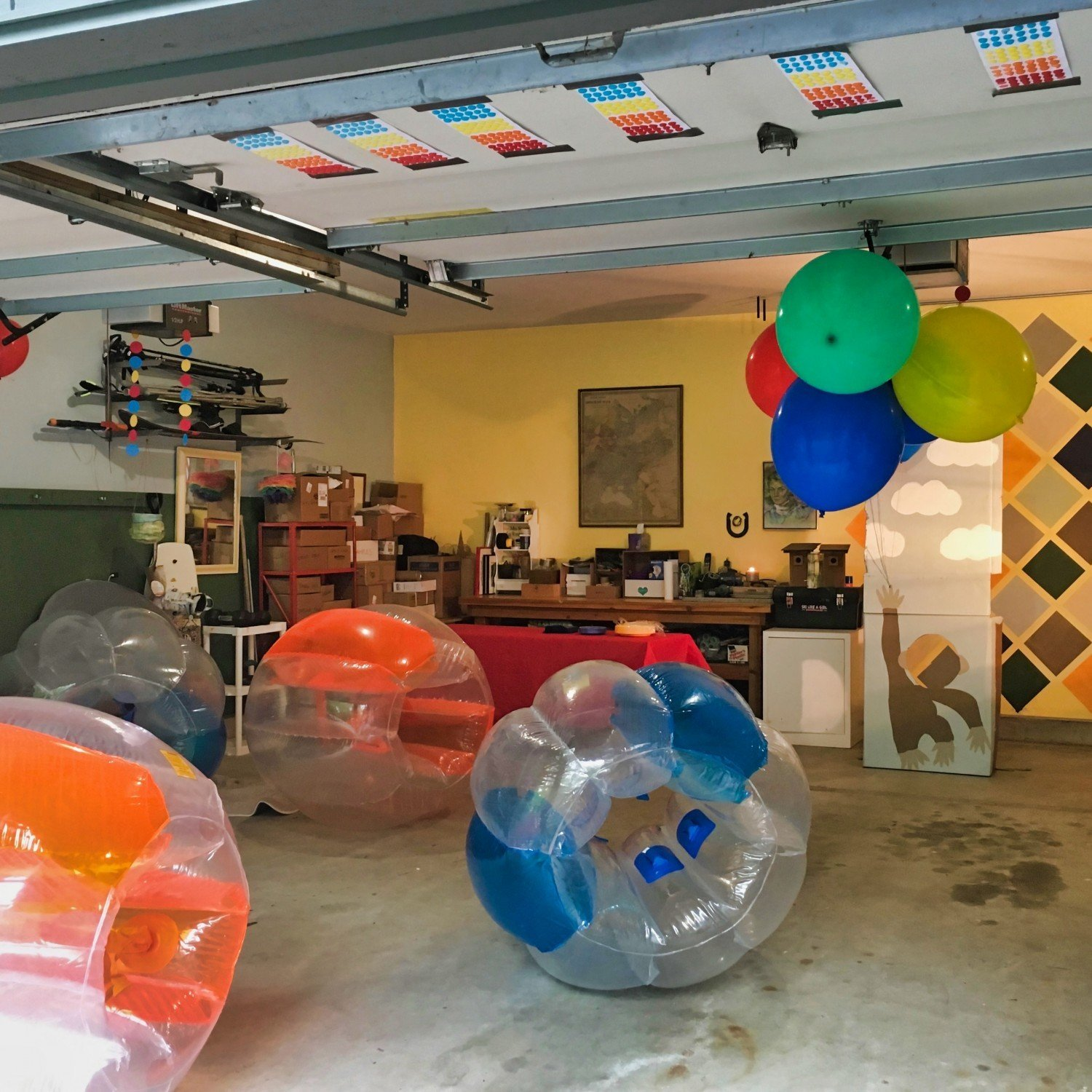 garage filled with fun birthday party activities