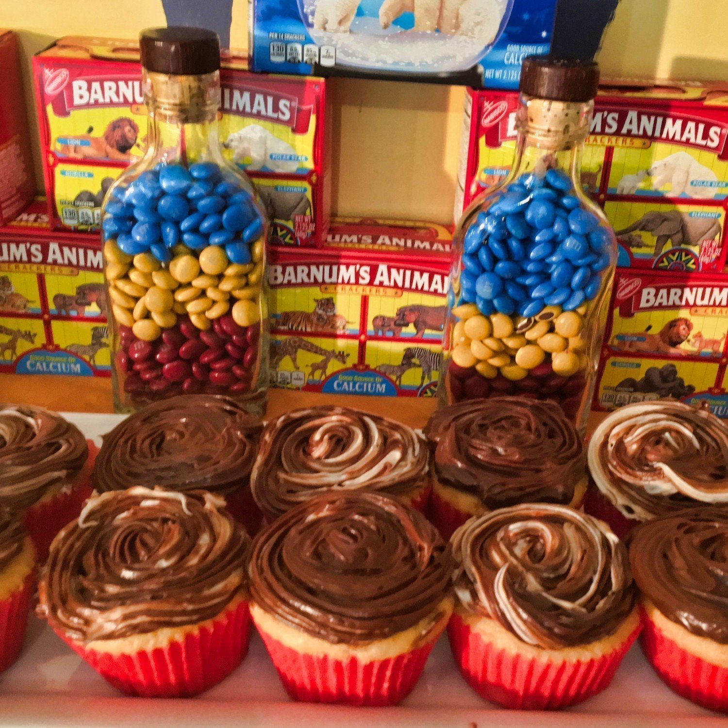 chocolate buttercream cupcakes and animal crackers