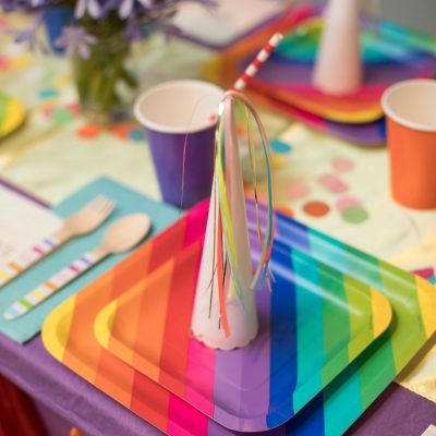 Rainbow Unicorn Party In A Box Table Setting